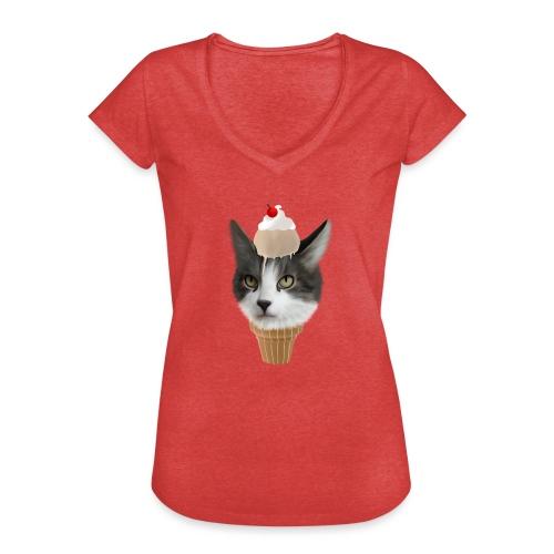 Ice Cream Cat - Frauen Vintage T-Shirt