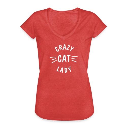 Vorschau: Crazy Cat Lady meow - Frauen Vintage T-Shirt