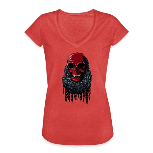 RED Skull in Chains - Women's Vintage T-Shirt
