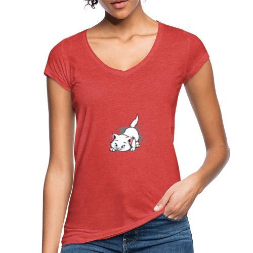 Katze Splash Pfützen Sprung - Frauen Vintage T-Shirt
