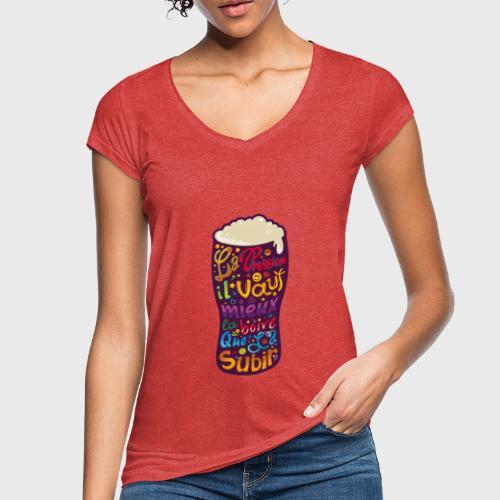 Bière pression typographies colorées - T-shirt vintage Femme