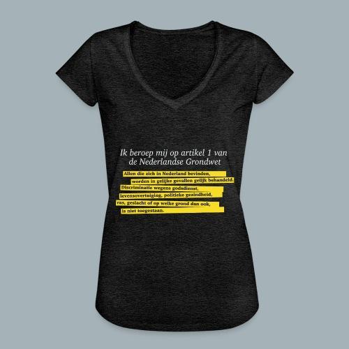 Nederlandse Grondwet T-Shirt - Artikel 1 - Vrouwen Vintage T-shirt