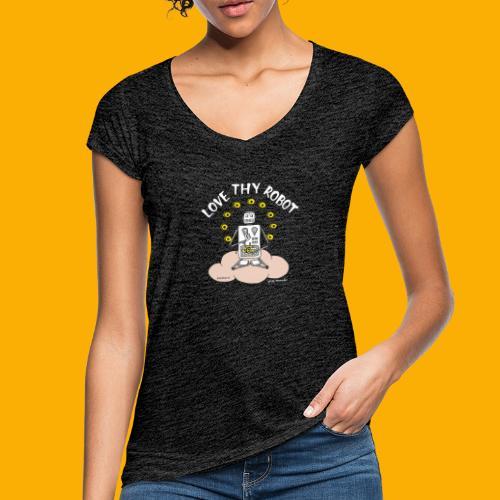 Dat Robot: Love Thy Robot Buddha Dark - Vrouwen Vintage T-shirt