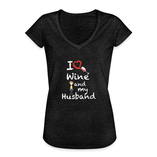 I love Red wine & my Husband Couples Pairs Wedding - Maglietta vintage donna
