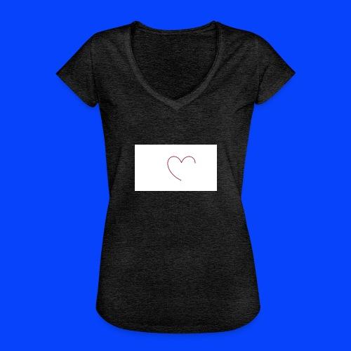 t-shirt bianca con cuore - Maglietta vintage donna
