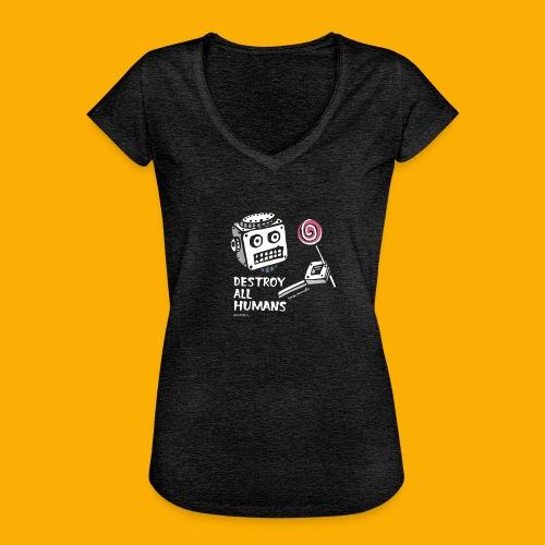 Dat Robot: Destroy Series Candy Dark - Vrouwen Vintage T-shirt