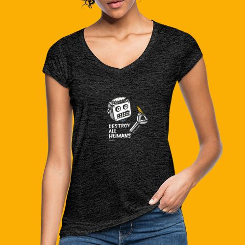 Dat Robot: Destroy Series All Humans Dark - Vrouwen Vintage T-shirt