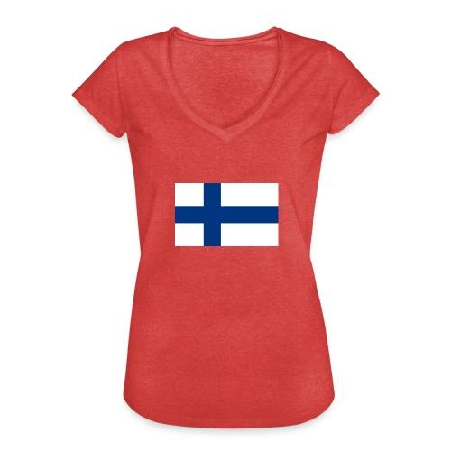 800pxflag of finlandsvg - Naisten vintage t-paita