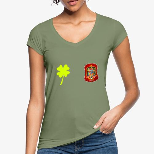 Trébol de la suerte / Escudo rojo / Espalda - Camiseta vintage mujer