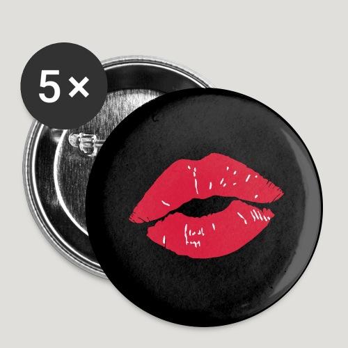 Kussmund - Lippenstift rote Lippen Gesichtsmaske - Buttons groß 56 mm (5er Pack)