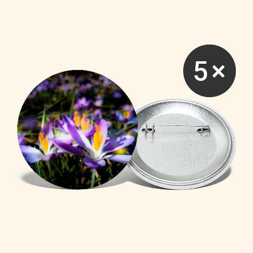 Blumenwiese, lila blühende Blumen, Blüten, floral - Buttons groß 56 mm (5er Pack)