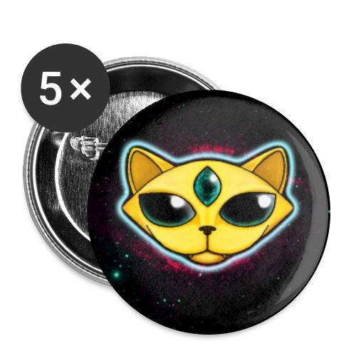 Spacecat (auf Schwarz, für Accessoires) - Buttons groß 56 mm (5er Pack)