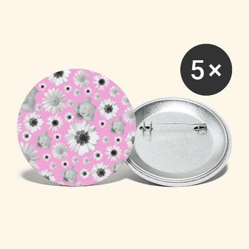 Blumen, Blume, Blüten, floral, Blumenranke, pink - Buttons groß 56 mm (5er Pack)