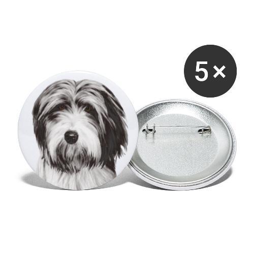 Bearded collie - Stora knappar 56 mm (5-pack)