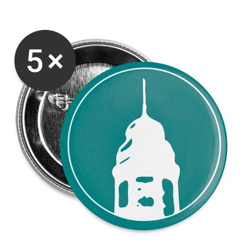 Logo mit farbigem Hintergrund - Buttons groß 56 mm (5er Pack)