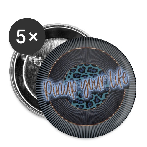 Pinup your Life - Leopard Blau - Buttons large 2.2''/56 mm(5-pack)