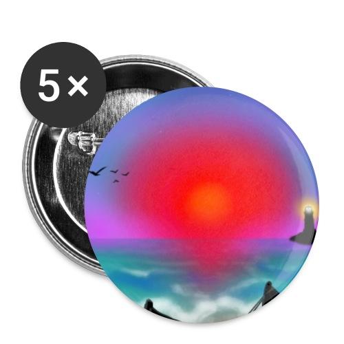 SUNSET BEACH - Buttons groß 56 mm (5er Pack)