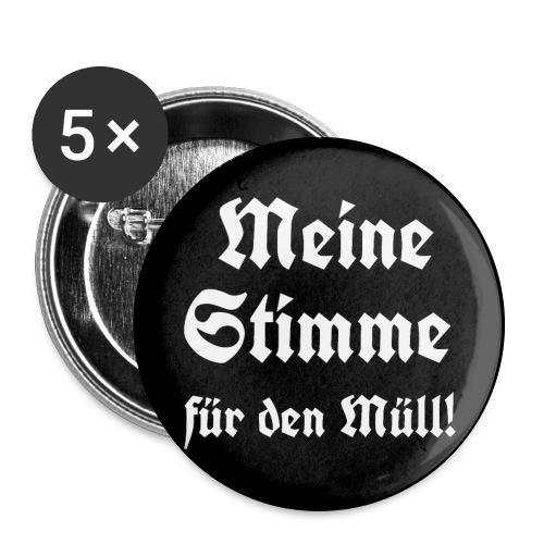 Button Meine Stimme für den Müll! - Buttons groß 56 mm (5er Pack)