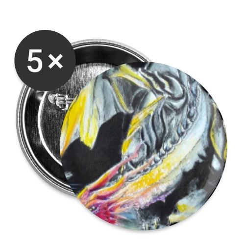 drache - Buttons groß 56 mm (5er Pack)