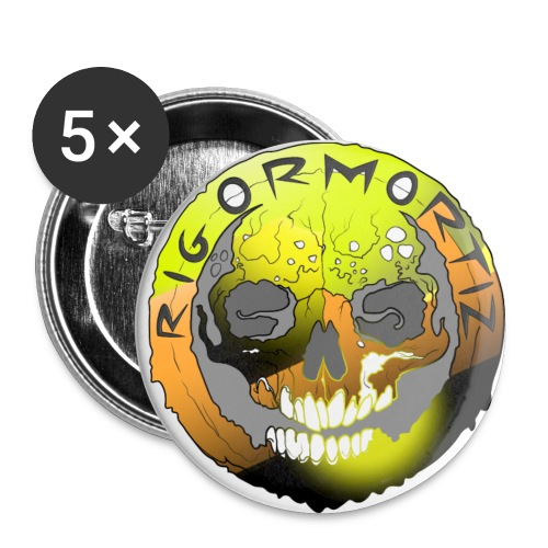 Rigormortiz Metallic Yellow Orange Design - Buttons large 2.2''/56 mm(5-pack)