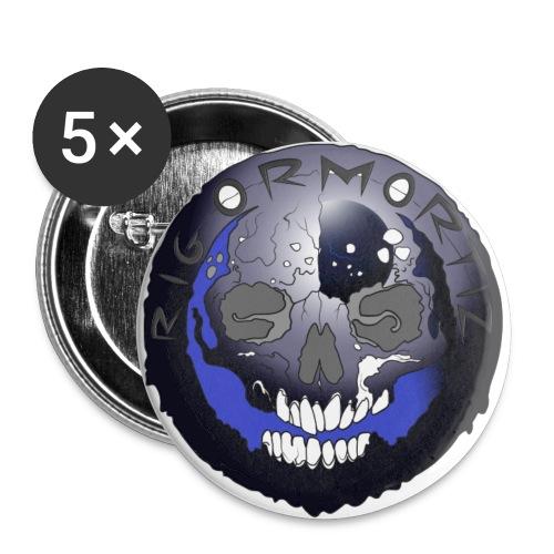 Rigormortiz Metallic Blue-Black Design - Buttons large 2.2''/56 mm(5-pack)