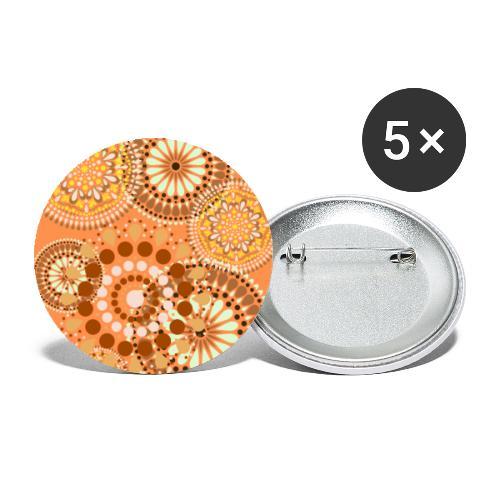 Fleur Hippie orange - Lot de 5 grands badges (56 mm)