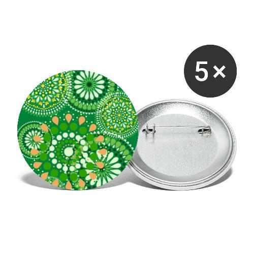 Fleur Hippie vert - Lot de 5 grands badges (56 mm)