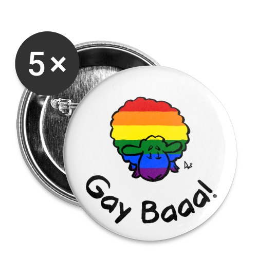 Gay Baaa! Rainbow Pride Sheep - Buttons/Badges stor, 56 mm (5-pack)