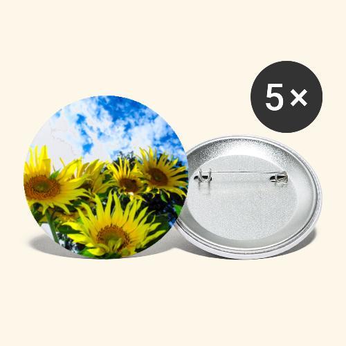 Sonnenblumen, blauer Himmel, Sonnenblume, Wolken - Buttons groß 56 mm (5er Pack)