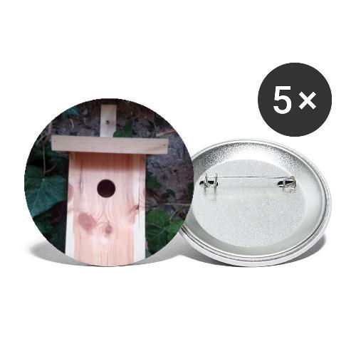Der Nistkasten - Luxus für den Garten-Vogel - Buttons groß 56 mm (5er Pack)