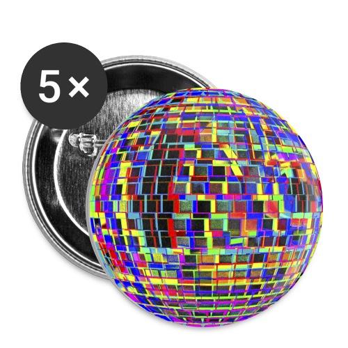 Boule à facettes psychédélique - Lot de 5 grands badges (56 mm)
