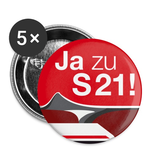 ja zu s21 gross - Buttons groß 56 mm (5er Pack)