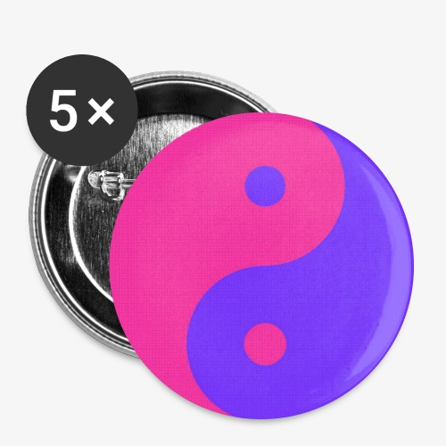 Yin Yang PinkBlue - Paquete de 5 chapas grandes (56 mm)