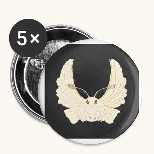 Papillon de nuit fond noir - Lot de 5 grands badges (56 mm)