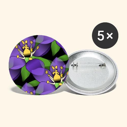 lila Blumen, violette Blüten, florales Muster - Buttons groß 56 mm (5er Pack)