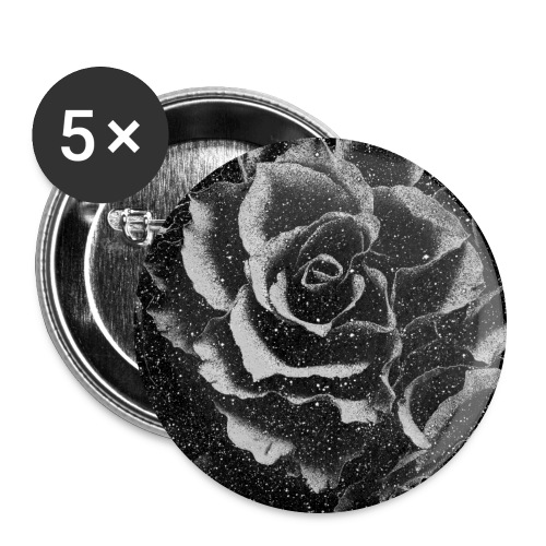 Vintage rose black and white floral mask - Buttons large 2.2''/56 mm (5-pack)
