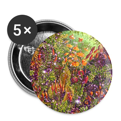 Magic forest flowers meadow fairy tale Fantasia fairy forest - Buttons large 2.2''/56 mm (5-pack)