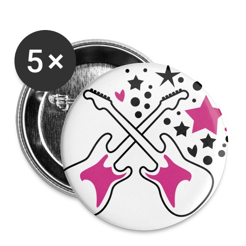 Guitars with stars (2c) [friswit.nl] - Buttons groot 56 mm (5-pack)
