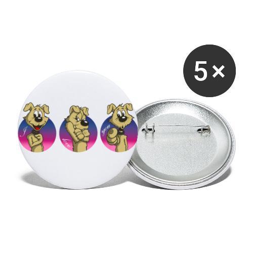 """Comic Hund in Gebärdensprache """"I love you"""" - Buttons groß 56 mm (5er Pack)"""