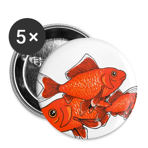 Poissons rouges - Lot de 5 grands badges (56 mm)