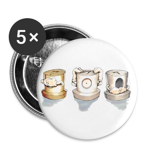See no evil, Hear no evil, Speak no evil - Buttons/Badges stor, 56 mm (5-pack)