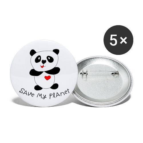 Pandabär - Buttons groß 56 mm (5er Pack)