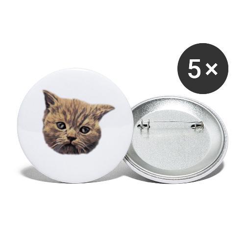 Chat - Lot de 5 grands badges (56 mm)