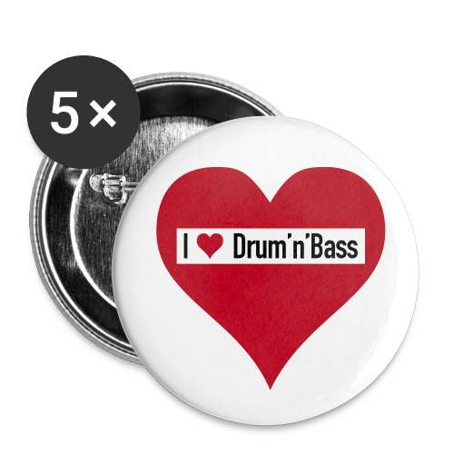 Oldskool Heart - Buttons groß 56 mm (5er Pack)