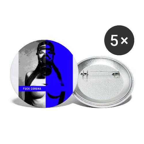 Schutzmaske - fuck corona - Buttons groß 56 mm (5er Pack)