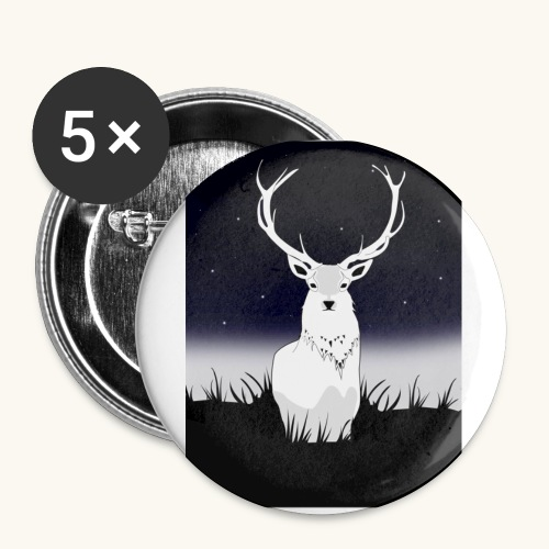 Cerf Blanc - Lot de 5 grands badges (56 mm)