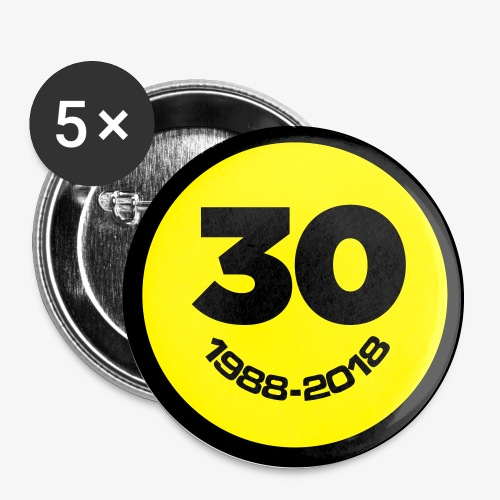 30 Jaar Belgian New Beat Smiley - Buttons groot 56 mm (5-pack)