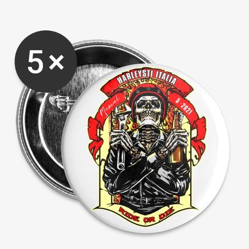 Teschio con casco, birra e chiave inglese - Confezione da 5 spille grandi (56 mm)