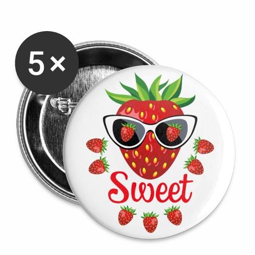 55 Erdbeere Sweet Sonnenbrille - Buttons groß 56 mm (5er Pack)