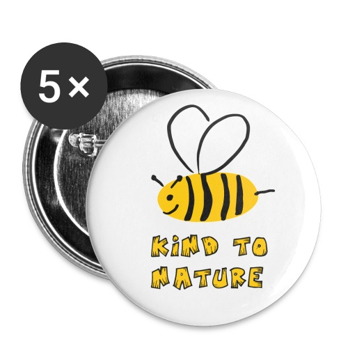Bee kind to nature Bienen retten - Buttons groß 56 mm (5er Pack)